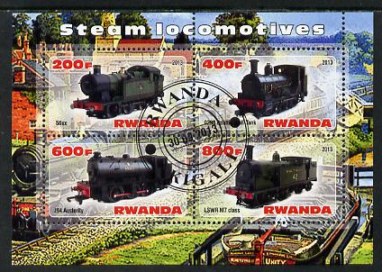Rwanda 2013 Steam Locos #5 perf sheetlet containing 4 values fine cto used