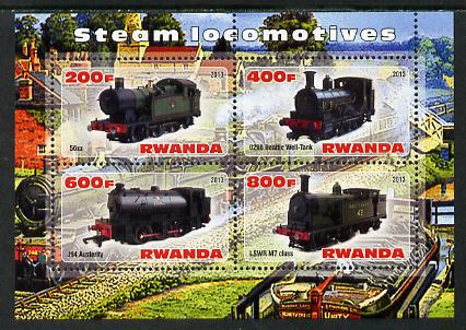 Rwanda 2013 Steam Locos #5 perf sheetlet containing 4 values unmounted mint