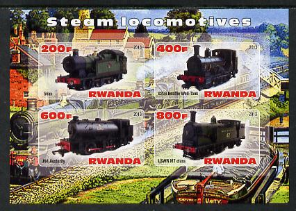 Rwanda 2013 Steam Locos #5 imperf sheetlet containing 4 values unmounted mint