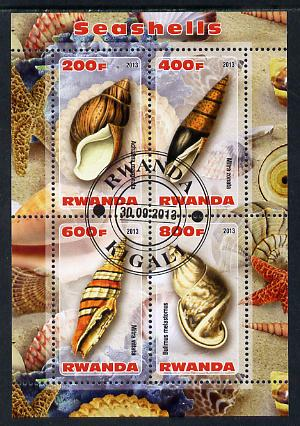Rwanda 2013 Shells perf sheetlet containing 4 values fine cto used