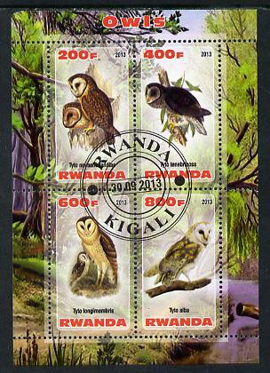 Rwanda 2013 Owls perf sheetlet containing 4 values fine cto used