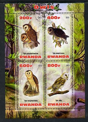 Rwanda 2013 Owls perf sheetlet containing 4 values unmounted mint