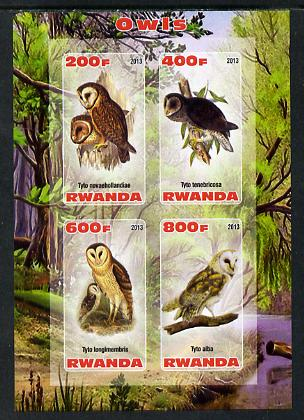 Rwanda 2013 Owls imperf sheetlet containing 4 values unmounted mint