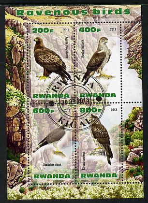 Rwanda 2013 Birds of Prey perf sheetlet containing 4 values fine cto used
