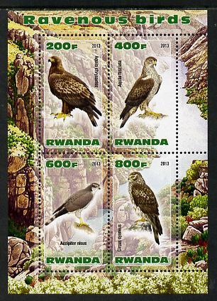 Rwanda 2013 Birds of Prey perf sheetlet containing 4 values unmounted mint