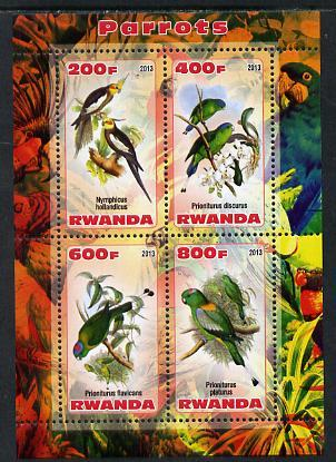 Rwanda 2013 Parrots perf sheetlet containing 4 values unmounted mint