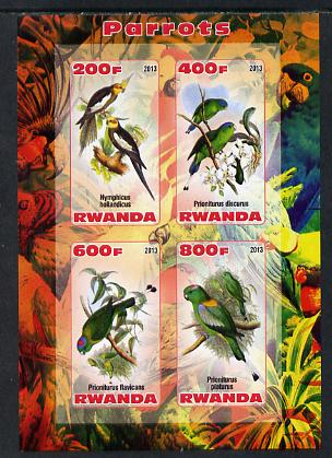 Rwanda 2013 Parrots imperf sheetlet containing 4 values unmounted mint