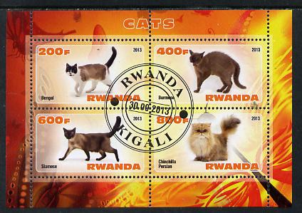 Rwanda 2013 Domestic Cats #1 perf sheetlet containing 4 values fine cto used