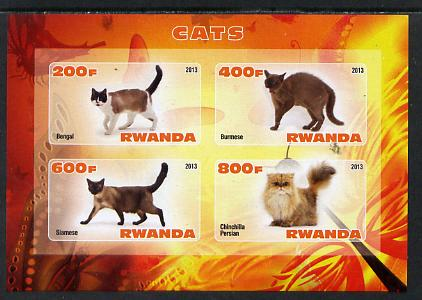 Rwanda 2013 Domestic Cats #1 imperf sheetlet containing 4 values unmounted mint