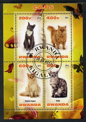Rwanda 2013 Domestic Cats #2 perf sheetlet containing 4 values fine cto used