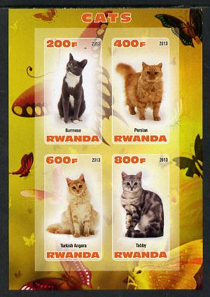 Rwanda 2013 Domestic Cats #2 imperf sheetlet containing 4 values unmounted mint