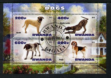 Rwanda 2013 Dogs #1 perf sheetlet containing 4 values fine cto used