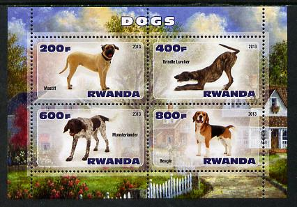 Rwanda 2013 Dogs #1 perf sheetlet containing 4 values unmounted mint