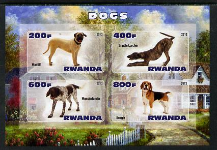 Rwanda 2013 Dogs #1 imperf sheetlet containing 4 values unmounted mint