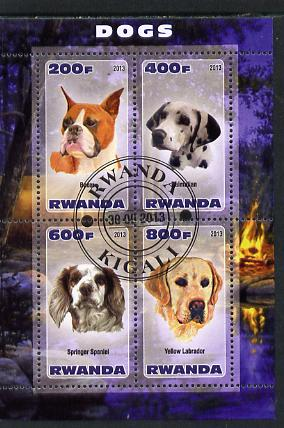 Rwanda 2013 Dogs #2 perf sheetlet containing 4 values fine cto used