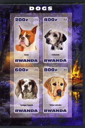 Rwanda 2013 Dogs #2 imperf sheetlet containing 4 values unmounted mint