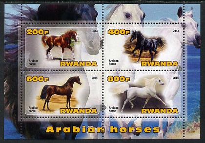 Rwanda 2013 Horses #2 perf sheetlet containing 4 values unmounted mint