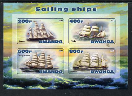 Rwanda 2013 Sailing Ships #1 imperf sheetlet containing 4 values unmounted mint