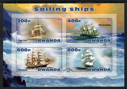 Rwanda 2013 Sailing Ships #2 imperf sheetlet containing 4 values unmounted mint