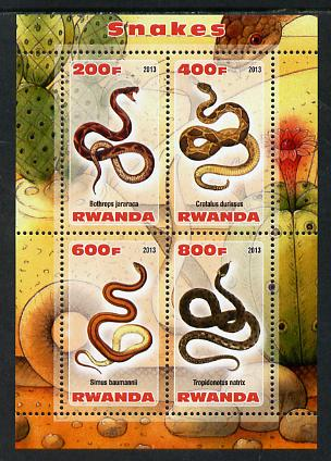 Rwanda 2013 Snakes perf sheetlet containing 4 values unmounted mint