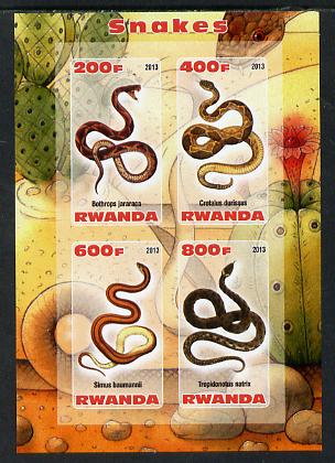 Rwanda 2013 Snakes imperf sheetlet containing 4 values unmounted mint