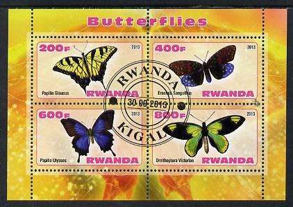 Rwanda 2013 Butterflies #2 perf sheetlet containing 4 values fine cto used