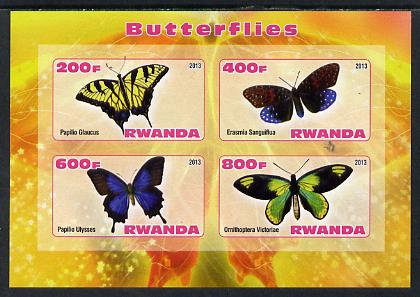 Rwanda 2013 Butterflies #2 imperf sheetlet containing 4 values unmounted mint