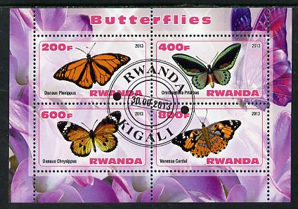 Rwanda 2013 Butterflies #3 perf sheetlet containing 4 values fine cto used