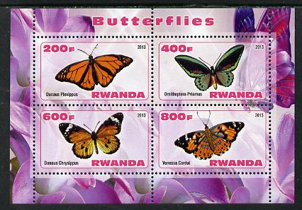 Rwanda 2013 Butterflies #3 perf sheetlet containing 4 values unmounted mint