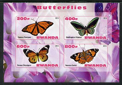 Rwanda 2013 Butterflies #3 imperf sheetlet containing 4 values unmounted mint