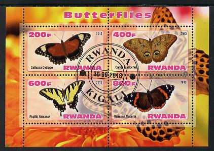 Rwanda 2013 Butterflies #4 perf sheetlet containing 4 values fine cto used
