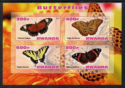 Rwanda 2013 Butterflies #4 imperf sheetlet containing 4 values unmounted mint