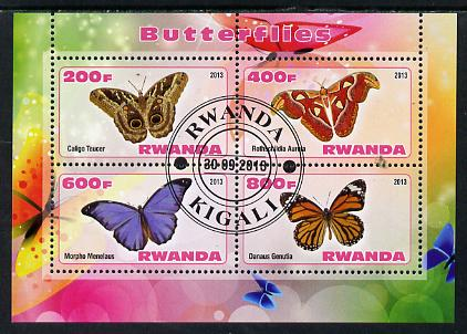 Rwanda 2013 Butterflies #5 perf sheetlet containing 4 values fine cto used