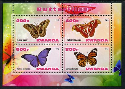 Rwanda 2013 Butterflies #5 perf sheetlet containing 4 values unmounted mint
