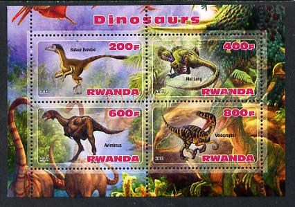 Rwanda 2013 Dinosaurs #1 perf sheetlet containing 4 values unmounted mint