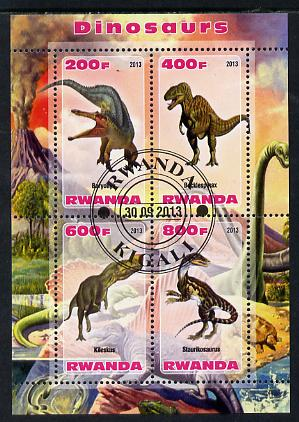 Rwanda 2013 Dinosaurs #2 perf sheetlet containing 4 values fine cto used