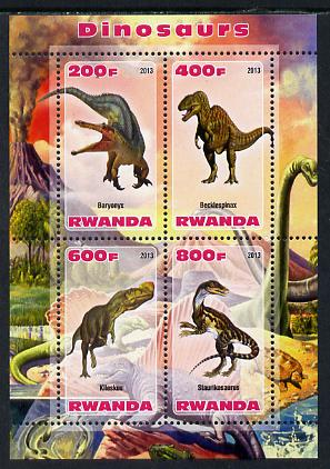 Rwanda 2013 Dinosaurs #2 perf sheetlet containing 4 values unmounted mint