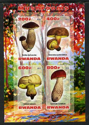 Rwanda 2013 Fungi #1 imperf sheetlet containing 4 values unmounted mint