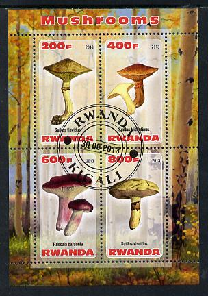 Rwanda 2013 Fungi #2 perf sheetlet containing 4 values fine cto used