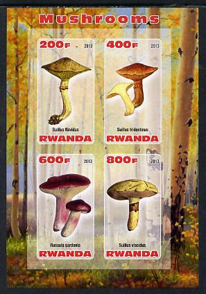 Rwanda 2013 Fungi #2 imperf sheetlet containing 4 values unmounted mint, stamps on fungi