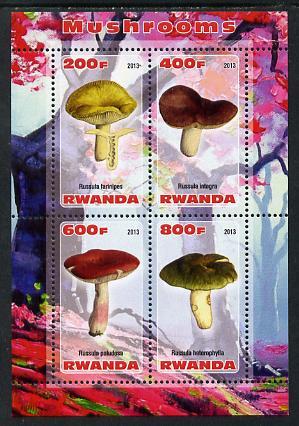 Rwanda 2013 Fungi #4 perf sheetlet containing 4 values unmounted mint