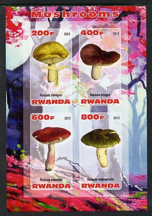 Rwanda 2013 Fungi #4 imperf sheetlet containing 4 values unmounted mint