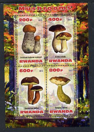 Rwanda 2013 Fungi #5 perf sheetlet containing 4 values unmounted mint