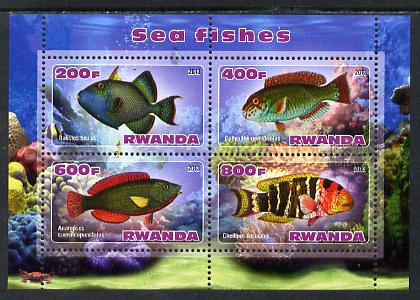 Rwanda 2013 Sea Fish #1 perf sheetlet containing 4 values unmounted mint