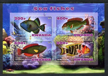 Rwanda 2013 Sea Fish #1 imperf sheetlet containing 4 values unmounted mint