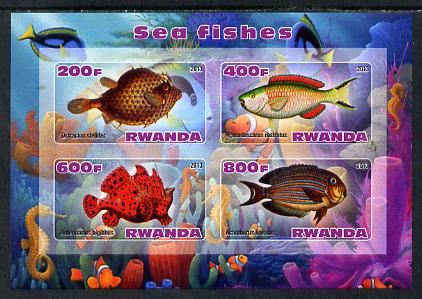 Rwanda 2013 Sea Fish #2 imperf sheetlet containing 4 values unmounted mint