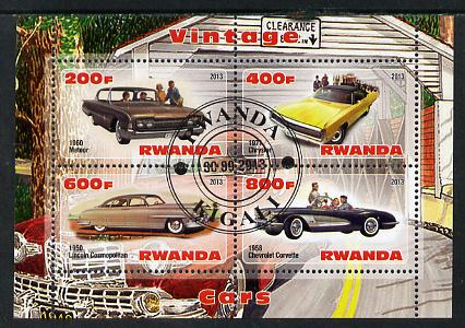 Rwanda 2013 Vintage Cars #1 perf sheetlet containing 4 values fine cto used