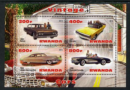 Rwanda 2013 Vintage Cars #1 perf sheetlet containing 4 values unmounted mint
