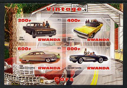 Rwanda 2013 Vintage Cars #1 imperf sheetlet containing 4 values unmounted mint