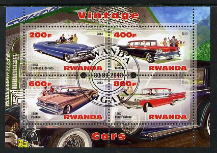 Rwanda 2013 Vintage Cars #2 perf sheetlet containing 4 values fine cto used